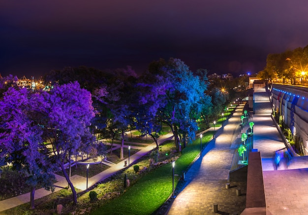 Greek park à odessa, ukraine la nuit Photo Premium