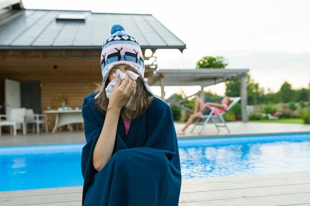 Grippe, rhume en été. Photo Premium