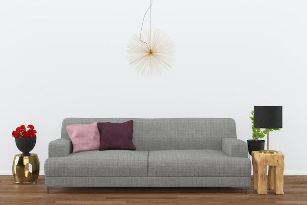 Gris canapé foncé plancher de bois salon intérieur rendu 3d fond noir lampe Photo Premium