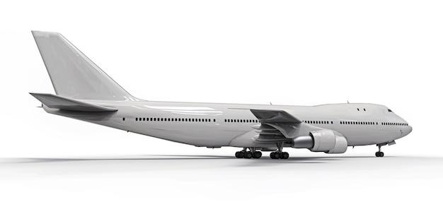 Gros aéronefs de passagers de grande capacité pour les longs vols transatlantiques. avion blanc sur fond isolé blanc Photo Premium