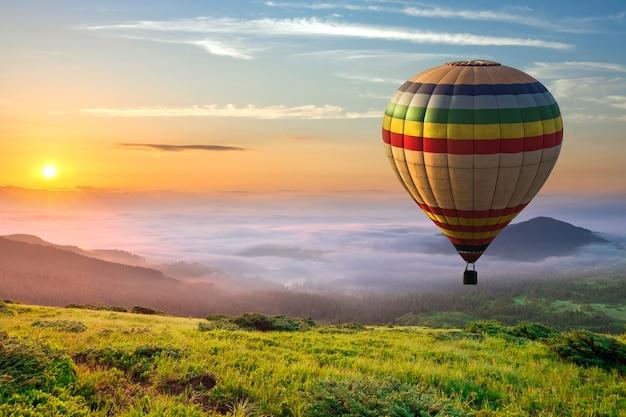 Gros Ballon à Air Chaud Sur L'herbe Verte Photo Premium