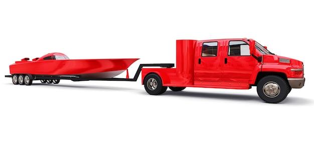 Gros Camion Rouge Avec Une Remorque Pour Le Transport D'un Bateau De Course Sur Fond Blanc. Rendu 3d. Photo Premium