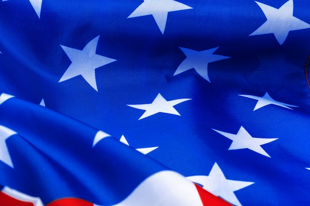 Gros plan, agitant, drapeau américain Photo Premium