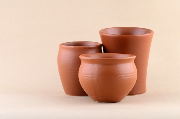 Gros Plan, Argile, Pots, Crème Photo Premium