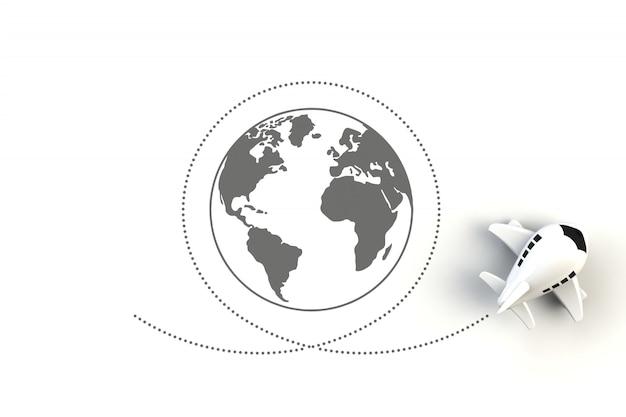 Gros plan d'un avion volant autour de l'illustration de concept de monde sur fond blanc Photo Premium