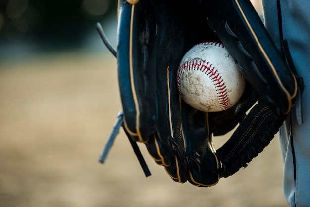 Gros Plan, Baseball, Tenu, Gant Photo gratuit