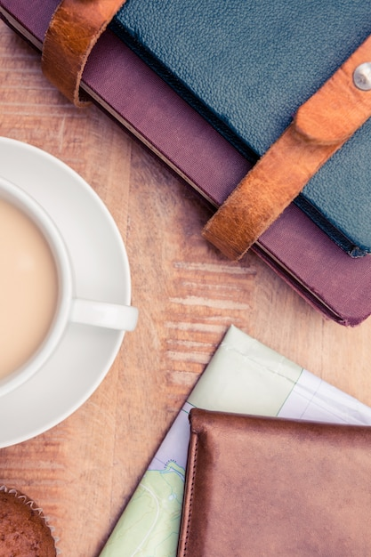 Gros Plan, Café, Portefeuille, Agendas, Table Photo Premium