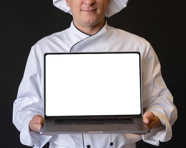 Gros Plan, Chef Cuisinier, Tenue, Ordinateur Portable Photo gratuit