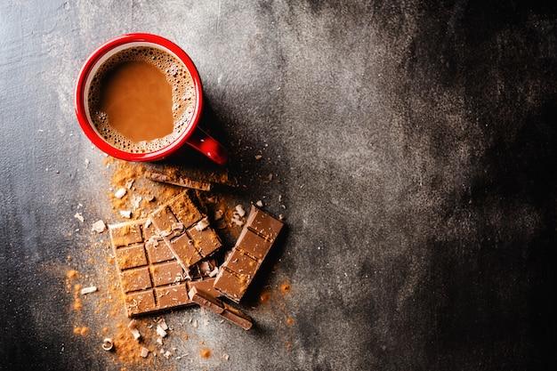 Gros plan, chocolat chaud, dans, tasse Photo Premium