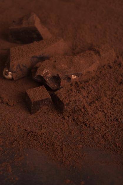Gros Plan D'un Chocolat Noir Fait Maison Naturel Recouvert De Poudre Photo gratuit