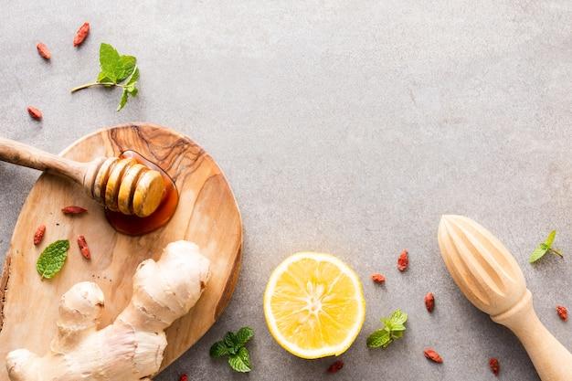 Gros Plan, Citron, Miel, Gingembre, Table Photo gratuit