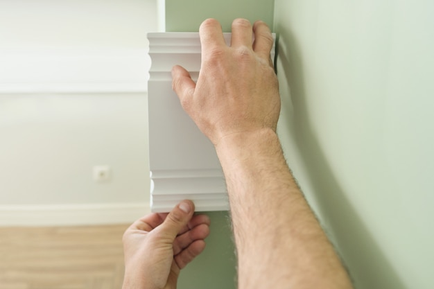 Gros plan, collage, bois, planche peinte, blanc, panneau, mur Photo Premium