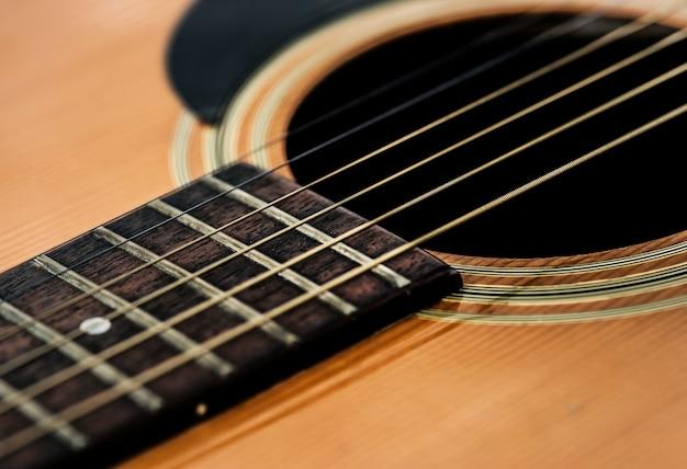 Gros plan de cordes de guitare Photo gratuit
