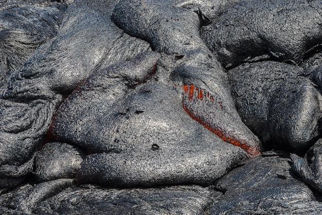 Gros Plan, Coulée Lave, Dans, Champ Lave Photo Premium
