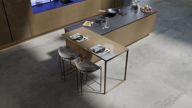 Gros Plan Dans Une Cuisine De Style Moderne Avec Salon Design, Rendu 3d Photo Premium