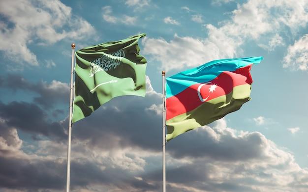 Gros Plan Sur Les Drapeaux De L'arabie Saoudite Et De L'azerbaïdjan Photo Premium