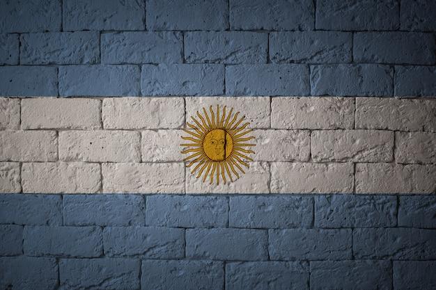 Gros Plan Du Drapeau Grunge De L'argentine. Drapeau Aux Proportions Originales Photo Premium