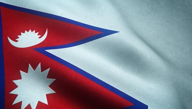 Gros Plan Du Drapeau Ondulant Du Népal Photo gratuit
