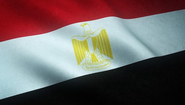 Gros Plan Du Drapeau Ondulant D'egipt Avec Des Textures Intéressantes Photo gratuit