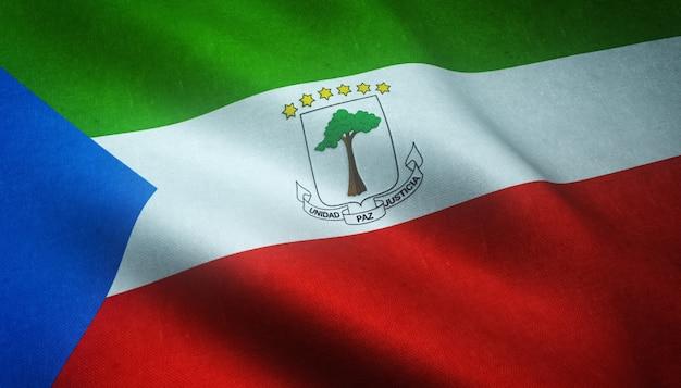 Gros Plan Du Drapeau Ondulant De La Guinée équatoriale Avec Des Textures Intéressantes Photo gratuit