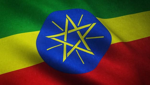 Gros Plan Du Drapeau Ondulant Réaliste De L'éthiopie Avec Des Textures Intéressantes Photo gratuit