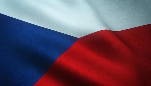 Gros Plan Du Drapeau Ondulant De La République Tchèque Avec Des Textures Intéressantes Photo gratuit