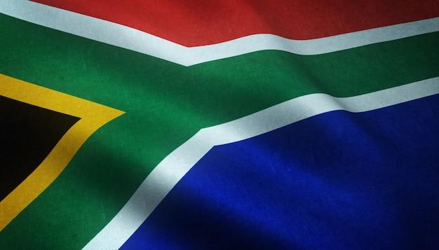 Gros Plan Du Drapeau Réaliste De L'afrique Du Sud Avec Des Textures Intéressantes Photo gratuit
