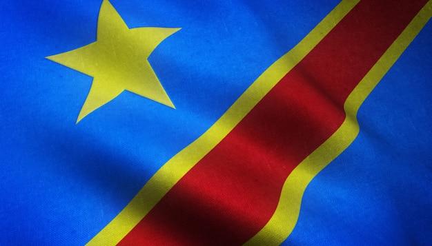 Gros Plan Du Drapeau Réaliste De La République Démocratique Du Congo Avec Des Textures Intéressantes Photo gratuit