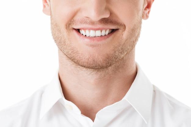 Gros Plan Du Sourire à Pleines Dents De L'homme Heureux Photo Premium