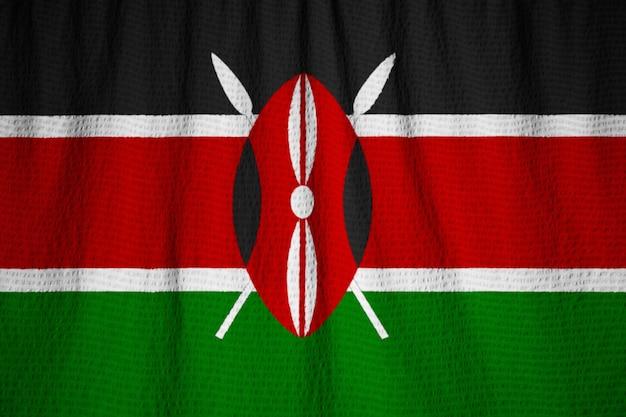 Gros plan, de, ébouriffé, kenya drapeau, kenya, drapeau, souffler, dans, vent Photo Premium