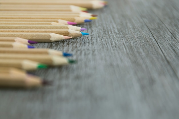 Gros plan, ensemble, crayons Photo gratuit