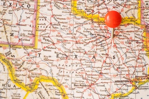 Gros plan, etats-unis, carte, et, pinpoint rouge Photo gratuit