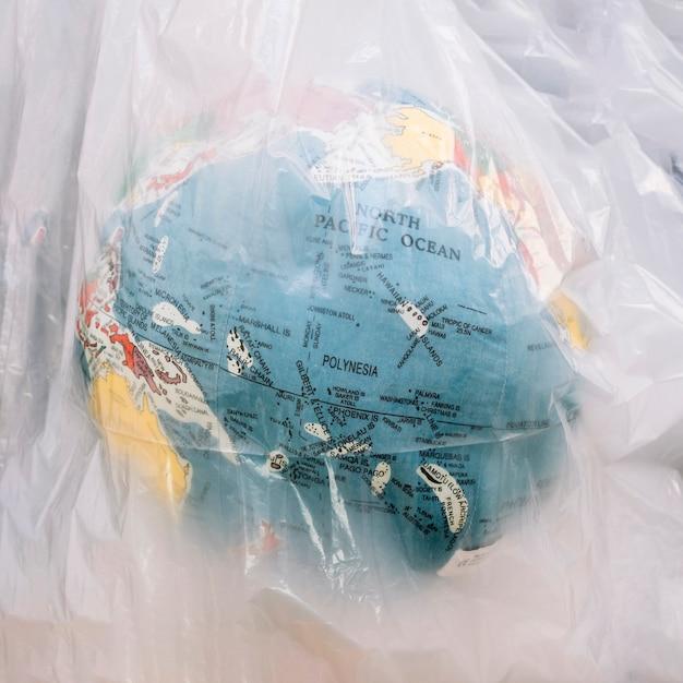 Gros plan, globe, intérieur, transparent, plastique, sac Photo gratuit
