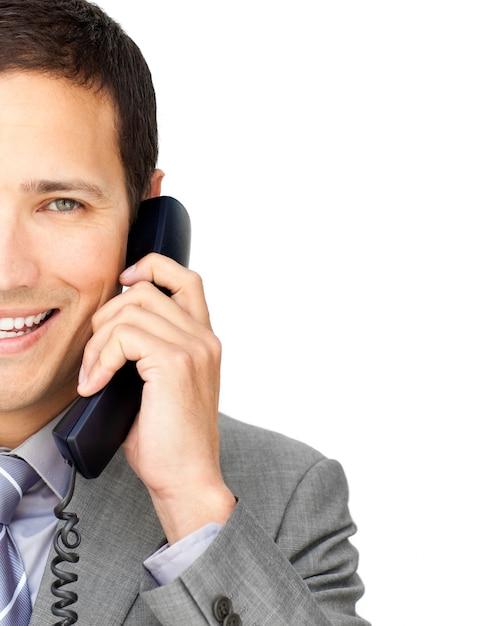 Gros plan, homme affaires, conversation, téléphone Photo Premium