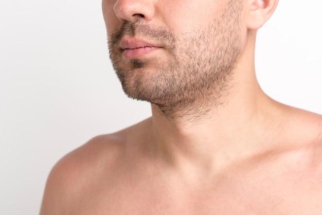 Gros plan de l'homme chaume torse nu sur fond blanc Photo gratuit