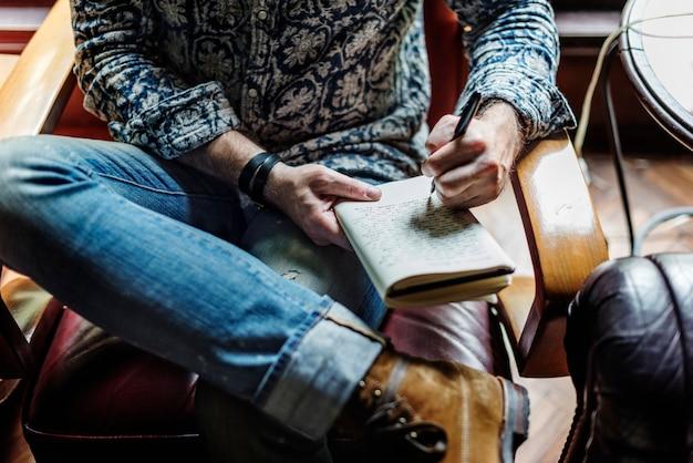 Gros Plan, De, Journaliste, Séance, écriture, Cahier Photo gratuit
