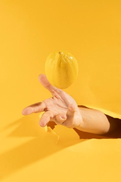 Gros plan, main, attraper, citron brut Photo gratuit