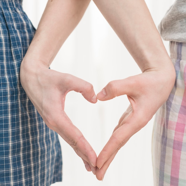 Gros plan, main, couple lesbien, forme coeur Photo gratuit