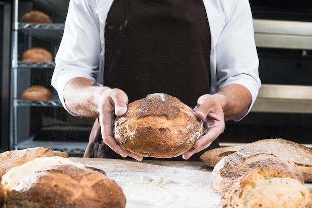 Gros plan, mâle, boulanger, projection, miche pain Photo gratuit
