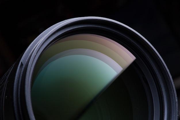 Gros plan d'un objectif photographique Photo Premium