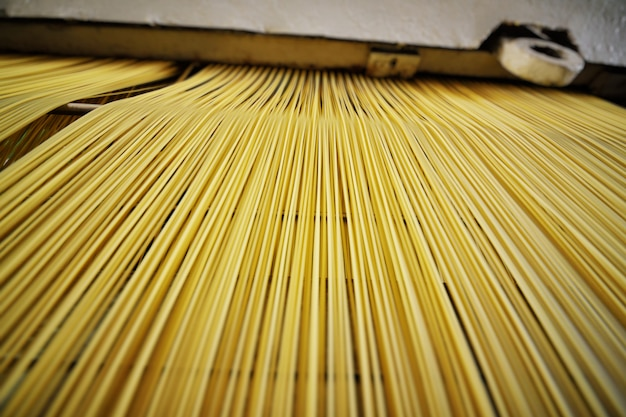 Gros plan de pâtes et spaghettis Photo Premium