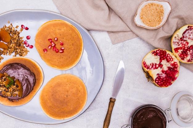 Gros plan, petit déjeuner, crêpes Photo gratuit