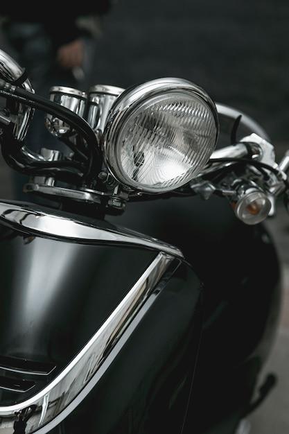Gros plan, phare, de, moto vintage Photo gratuit