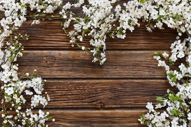 Gros plan, photo, de, beau, floraison blanche, cerisier, branches, forme coeur Photo Premium