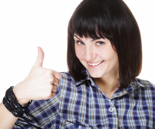 Gros plan, photo, de, drôle, jeune femme, montrer, geste correct, regarder appareil-photo Photo Premium