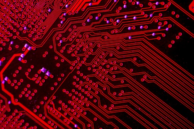 Gros plan, rouge, circuit imprimé, thème Photo gratuit