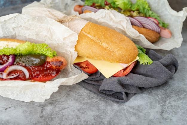 Gros plan, sandwichs, serviette Photo gratuit