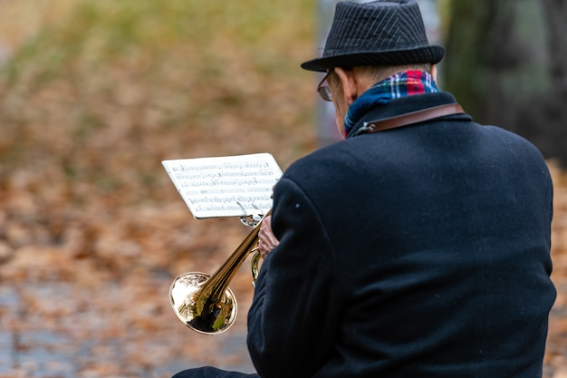 Gros Plan, Trompette, Joueur Photo Premium