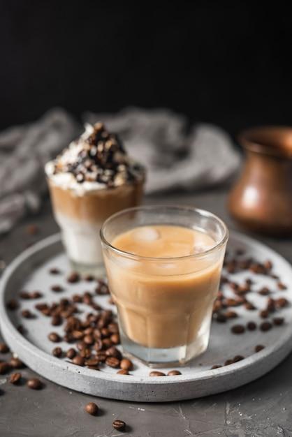 Gros plan, verre, café glace, lait Photo gratuit