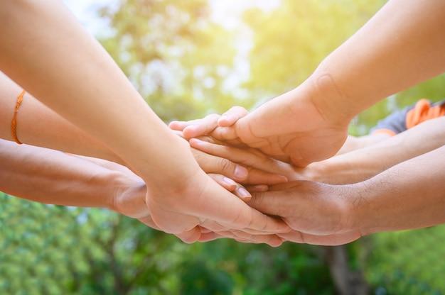 Un groupe d'amis tendit les bras pour se toucher les mains pour l'unité. Photo Premium